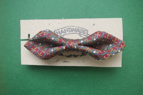 Papa's Bow Tie- antique handmade cloth flowers tie tie restructuring - The Wedding Singer - Red - Wide