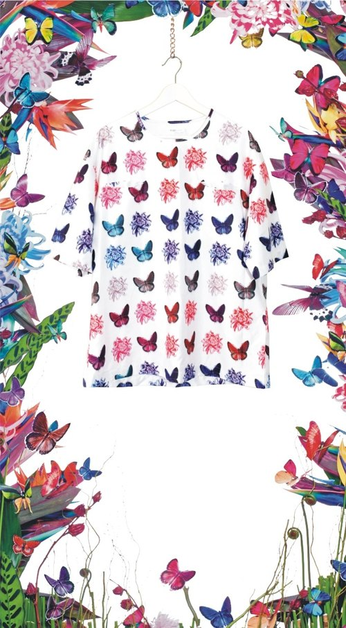Monna bloom series - Butterfly Butterfly full version of Black Label T-shirt