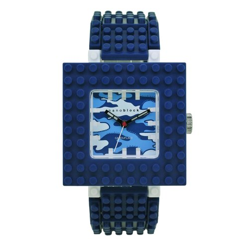 (Maijiu alarm clock) nanoblock miniature building blocks neutral table (second generation) box navy blue camouflage face