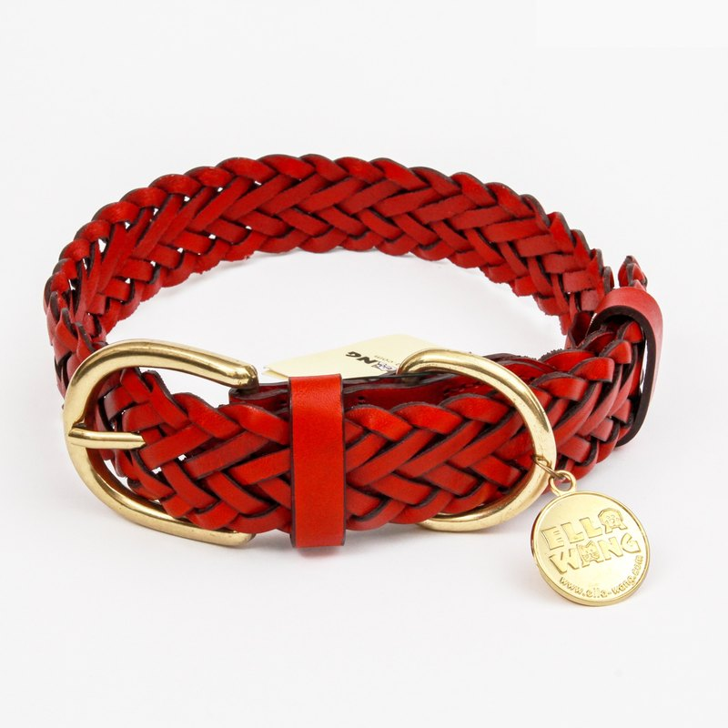 Ella Wang Design handmade leather collar - red pet collar