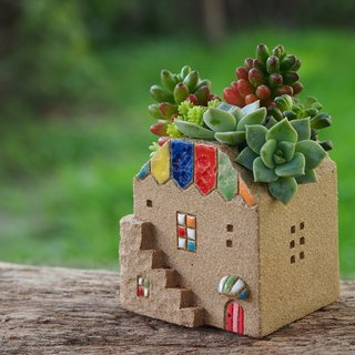 [Garden Cottage Garden] Pottery Handmade - Small Second Floor Rainbow House (S)/Gray Grey//Ceramic House/Order Order