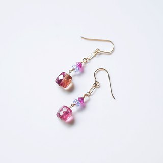 Natural Garnet Fat Drops Earrings Wild Custom Gifts Natural Stone Jewelry 14K GF Crystal