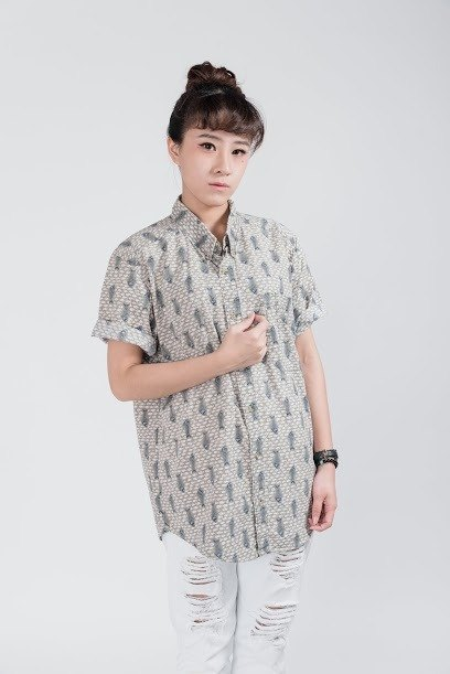 Vintage shirt _ / house Valley Mu fish / splice / short sleeve / shirt / Unisex
