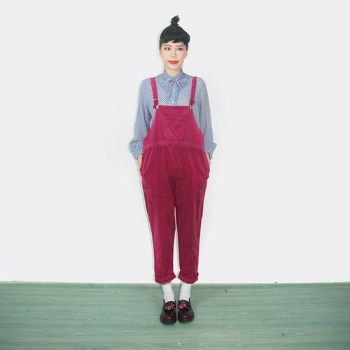 Raspberry red corduroy trousers suspenders vintage AK9015
