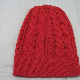 Red changing shape wool cap