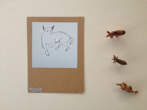 Handmade postcard :: home dog expression habit