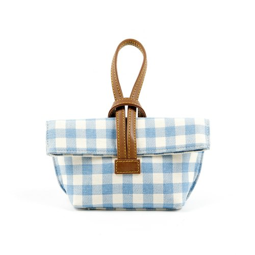 Mini camera bag] [Cross: Baby Blue Plaid