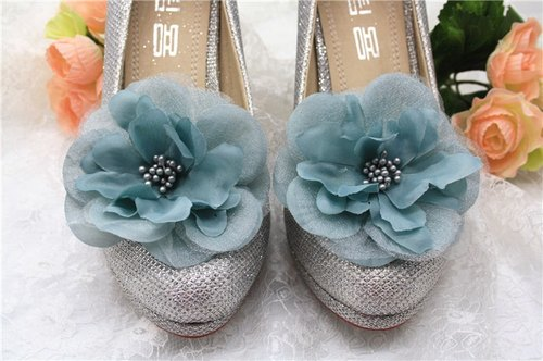 Vintage gray-blue chiffon Huaxie ornaments, decorative dinner heeled shoes clip, bridal shoes Flower Shoes