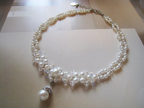 Czech Glass Pearl & Swarovski Crystal Choker<PJR:White> Bridal*