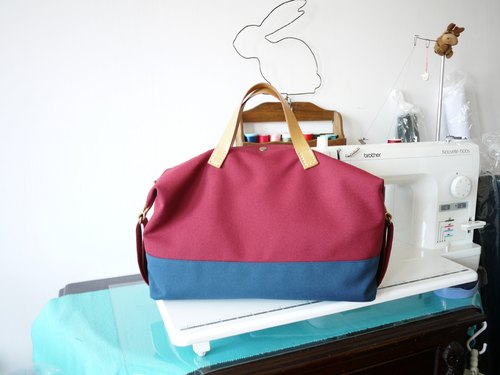 Hand side of the canvas backpack - blue burgundy husband
