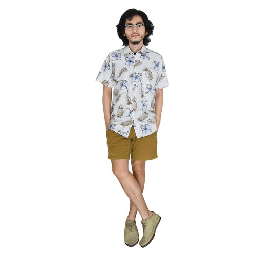 A‧PRANK: DOLLY :: VINTAGE retro with vintage Hawaiian pineapple ivory hibiscus flower shirt