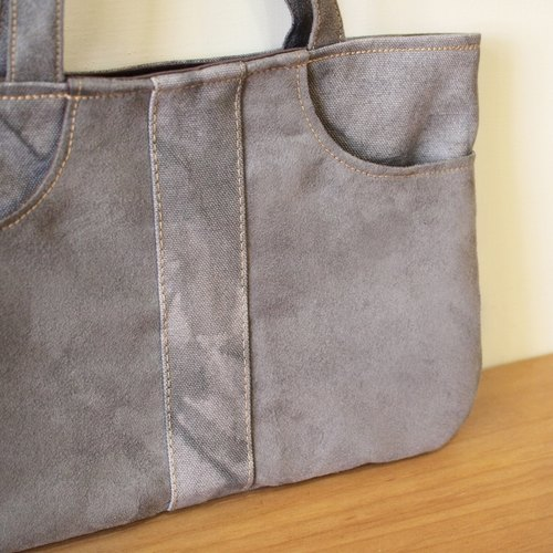 1pinfun arc chamois cloth canvas bag portable flat gray *