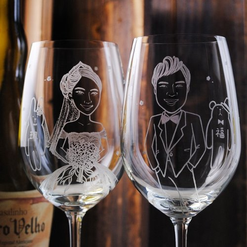 (One pair price) 425cc [cup] to get married rabbit Portrait (Realism Version) LOVE rabbit wedding bride and groom Portrait of wedding gifts MSA glass engraving custom