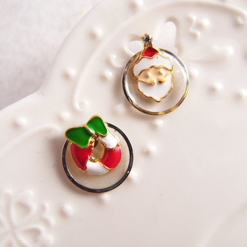 Merry Christmas! [CR0179-2] Christmas wreath /// husband gave you a small painless U-shaped ear clip, stainless steel, silicone ear ● Christmas gift exchange