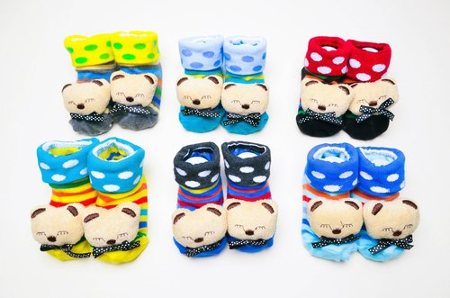 Single and double hand-stitched dolls socks - Bear