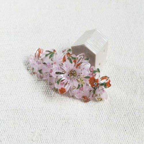 Cherry twist, three-dimensional flowers, automatic folder, hairpin - Pink