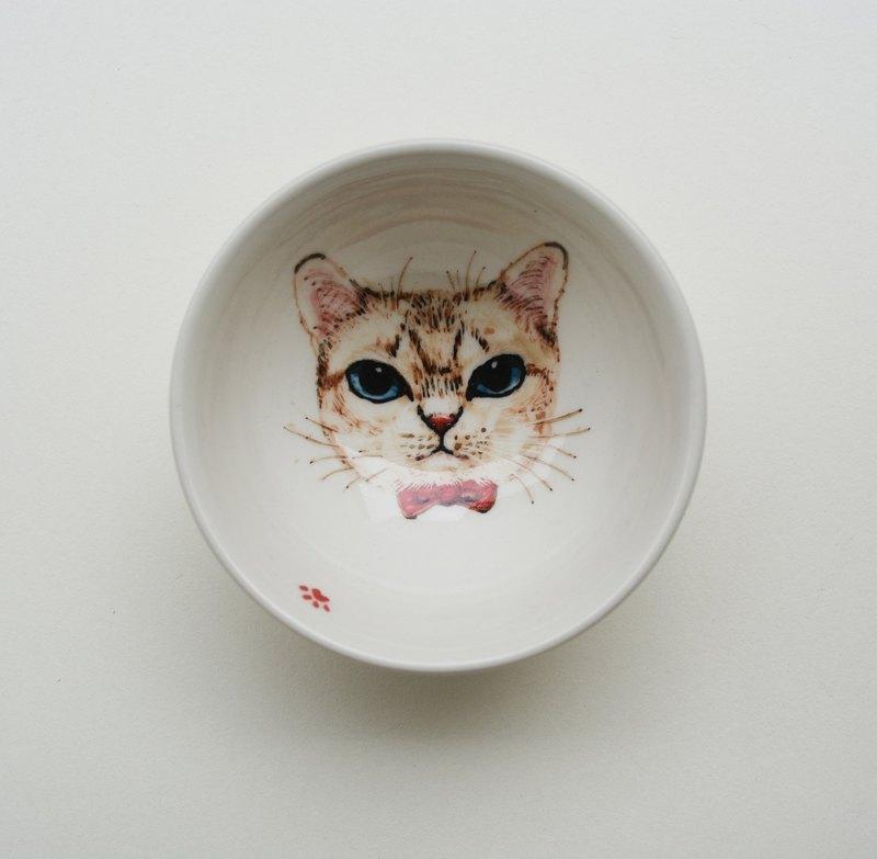 手繪小茶杯-藍眼睛小白貓