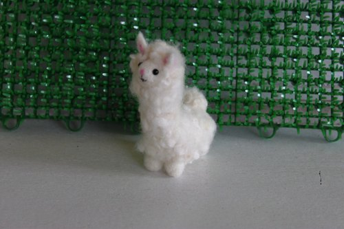 White mini Alpaca Charm and Necklace