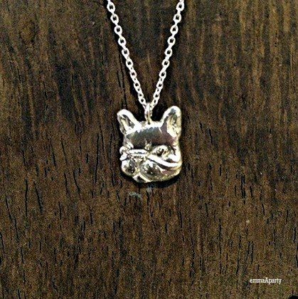 Handmade silver necklaces'& # 39; French Bulldog (half-dimensional)'& # 39;