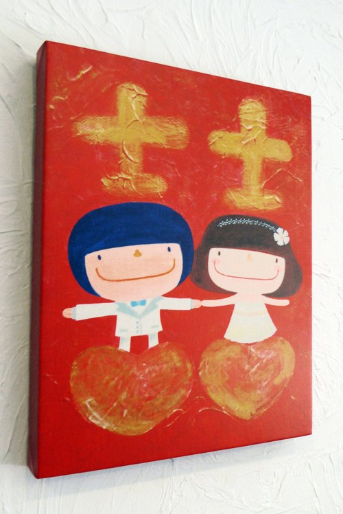 Limited frameless painting small mushrooms - [hand in hand, to permanently ~]