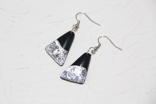 Vinyl Record Silver Foil Trapezoid Earrings // Silver Desert //