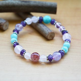 Brazil Amethyst Purple Star Rose Quartz crystal strawberry Amazonite customized elastic bracelet