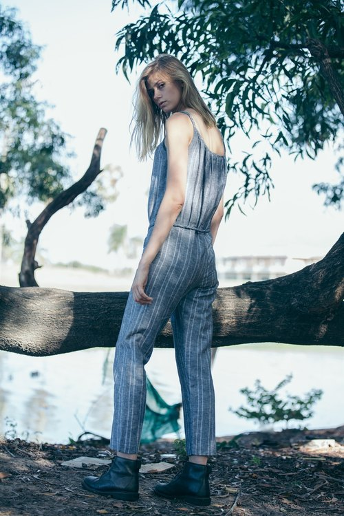 CHALKCHARCOAL jumpsuit (striped linen braided cami jumpsuit).