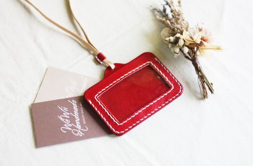 WeWii | Handmade Genuine leather necklace holder | Card case | Engraving service for FREE.