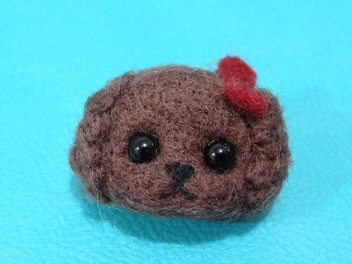 Poodle Head - Wool felt  (key ring or Decoration)
