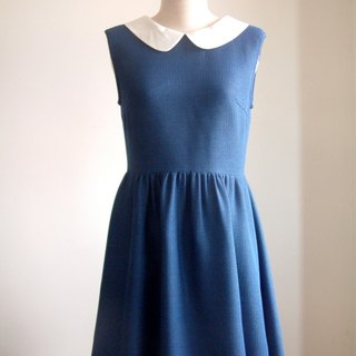 Retro sleeveless dress - sapphire blue