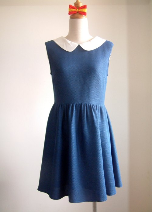 Vintage sleeveless dress - sapphire