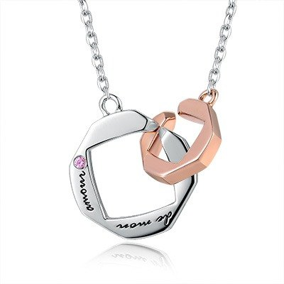 Hong Kong Design BLING BLING 925 silver plating platinum necklace couple French ladies My Love Pink CZ