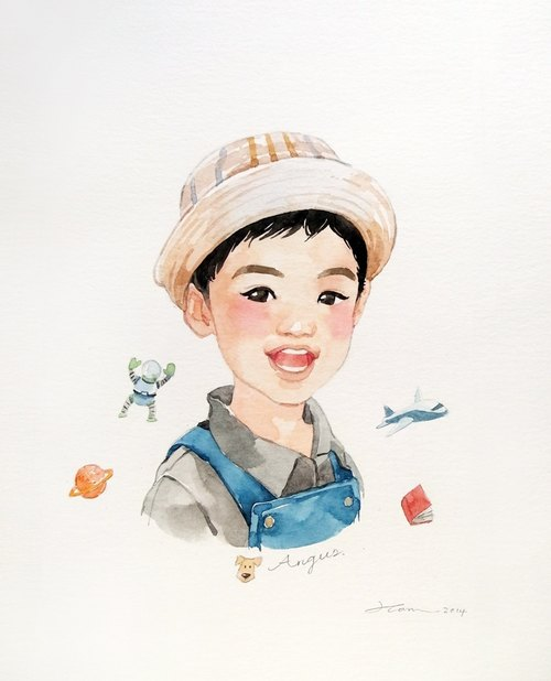 {Atelier Hanu} custom hand-painted watercolor portraits