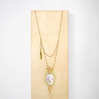 Snow Queen of Bird necklace with embroidered details / White
