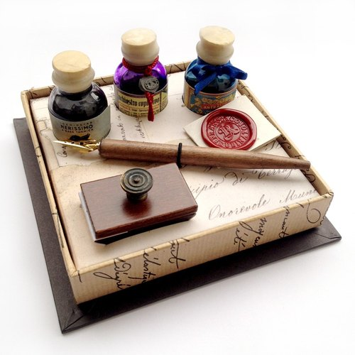 ◤261/3 Gift Writing Set - Wooden Nibholder+3 Inks+ Blotter /Francesco Rubinato