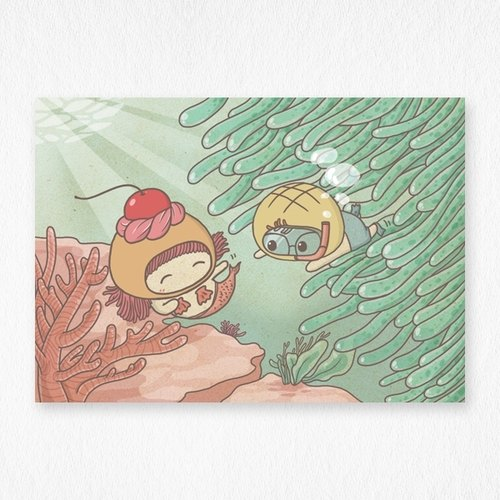 Meet mermaid postcard