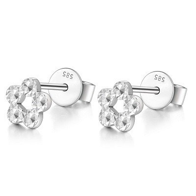 Hong Kong Design 14K / 585 White Gold net Golden Earrings