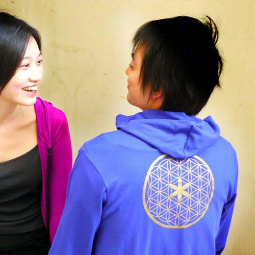 Free Shipping | Flower of Life | Reiki negative symbol | elastic summer sun hooded cotton jacket (Indigo)