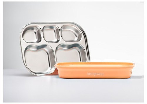 [Here] Kangovou picnic food equipment stainless steel safety separator plate wallabies - Orange Cream