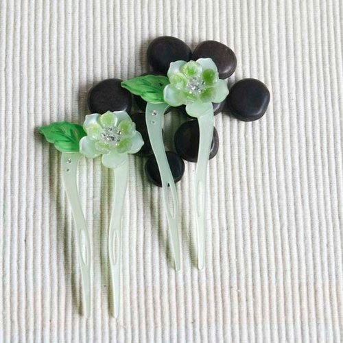 Color of Something New, U-shaped hairpin, hairpin, hair plug - Green