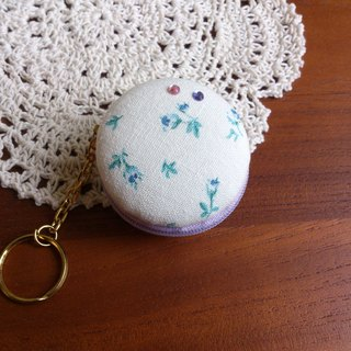 Chomii. Macaron CHARM zipper coin purse white floral jewelry box