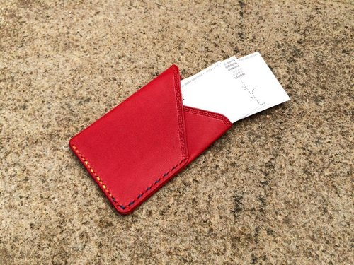 Red vegetable tanned leather double Card Holders