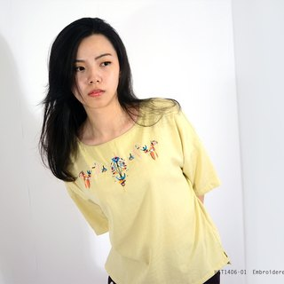 humming-Embroidered Kimono Sleeve Top /   Light yellow