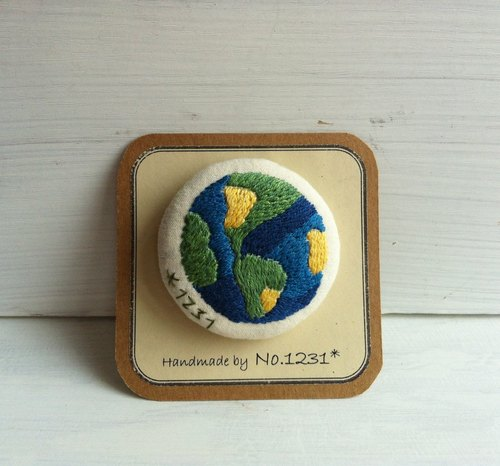 earth pin embroidery