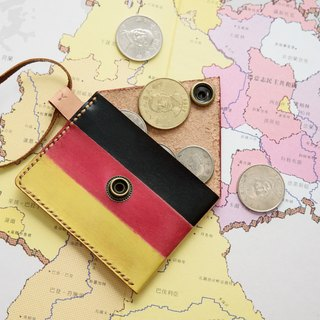 Handmade dyed - leather German purse (German flag)