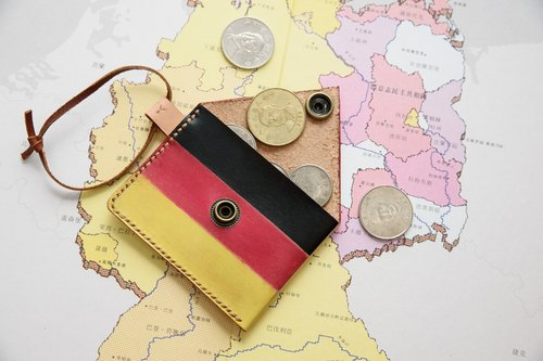 Hand dyed - leather purse Germany (German flag)