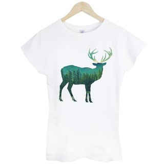Deer-Photo girls short-sleeved T-shirt - white deer photo forest natural environmental angle geometric abstract design affordable fashion homemade round cultural and creative triangle