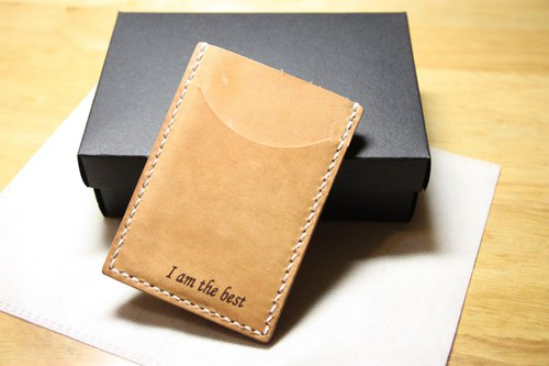 May Day Hands simple business card holder leather card holder leather purse money card free lettering