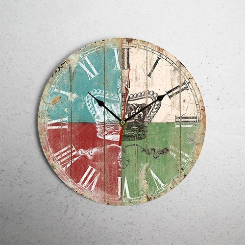 [LOFT] cross crown retro veneer wall clock SKU BP2-WLDC16-sk
