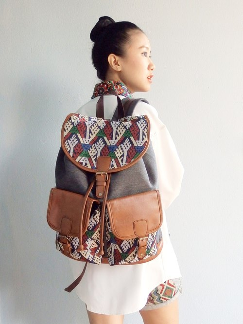 Canvas Gunny Tribal Backpack Boho Abstract Native Design Ethnic Hippie Aztec Gypsy Handwoven Handmade Tapestry Bohemian bag Vintage: Thai Tree graphic.